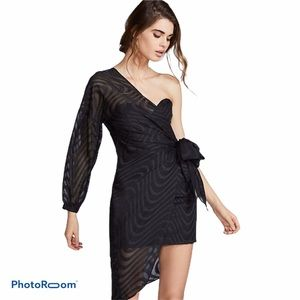 Free People ISLA Dreamer Black One Shoulder Dress